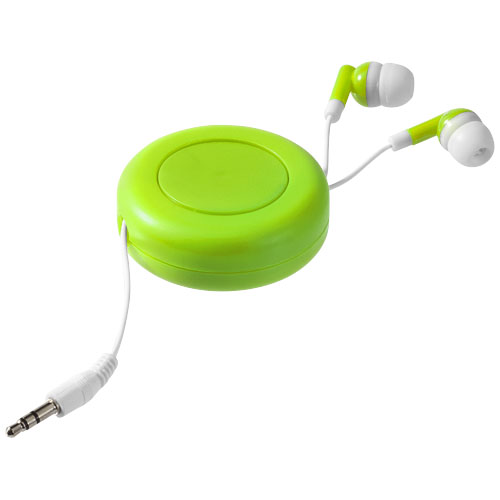 Reely retractable earbuds in lime-and-white-solid