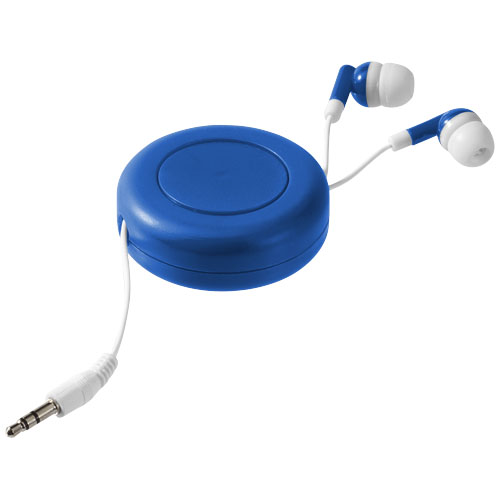 Reely retractable earbuds in royal-blue-and-white-solid