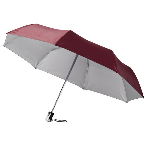 Alex 21.5'' foldable auto open/close umbrella in burgundy-and-silver
