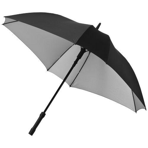 Square 23'' double-layered auto open umbrella in black-solid-and-silver