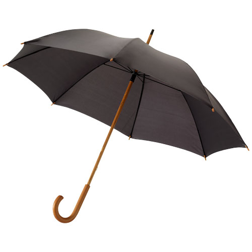 Jova 23'' umbrella with wooden shaft and handle in black-solid