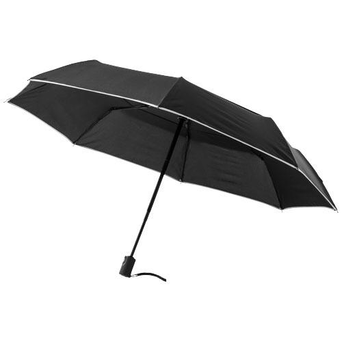 21'' 3-Section auto open/close umbrella in black-solid