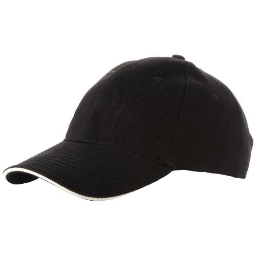 Challenge 6 panel sandwich cap in black-solid