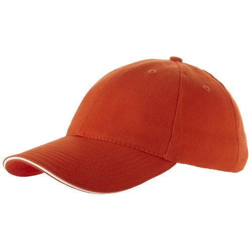 Challenge 6 panel sandwich cap in orange