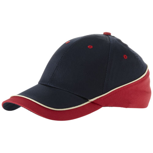 Draw 6 panel cap in navy-and-red