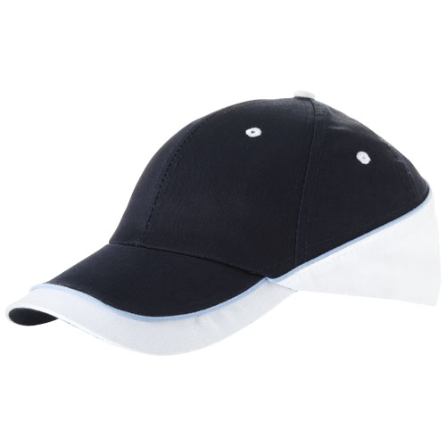 Draw 6 panel cap in navy-and-white-solid
