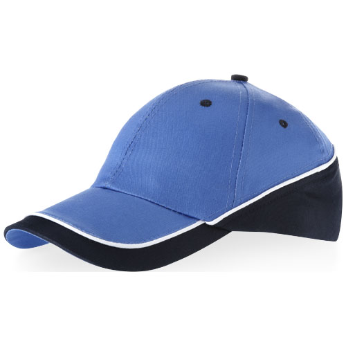 Draw 6 panel cap in sky-blue-and-navy