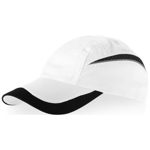 Qualifier 6 panel mesh cap in white-solid-and-black-solid