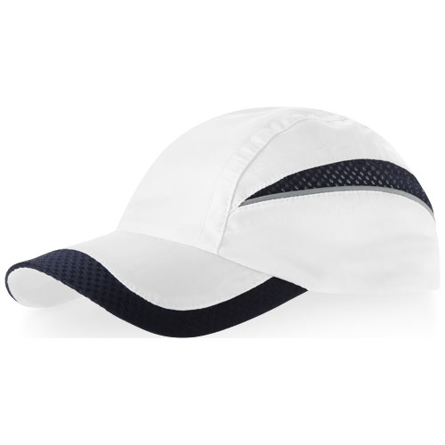 Qualifier 6 panel mesh cap in white-solid-and-navy