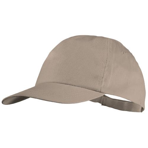 Basic 5-panel cotton cap in khaki