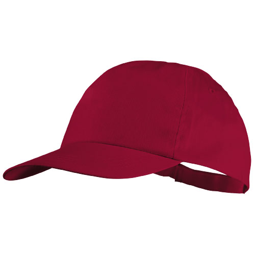 Basic 5-panel cotton cap in red