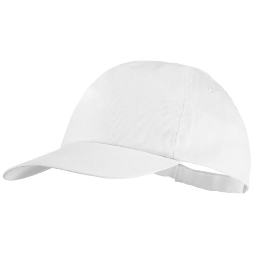 Basic 5-panel cotton cap in white-solid