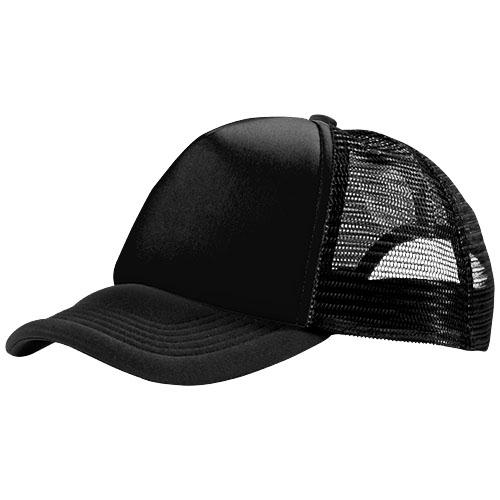 Trucker 5 panel cap in black-solid