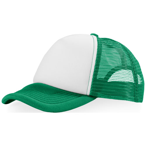 Trucker 5 panel cap in green-and-white-solid