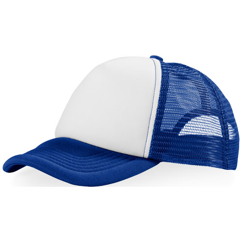 Trucker 5 panel cap in royal-blue-and-white-solid
