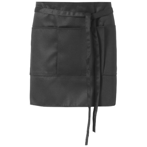 Lega short apron with 3 pockets in black-solid