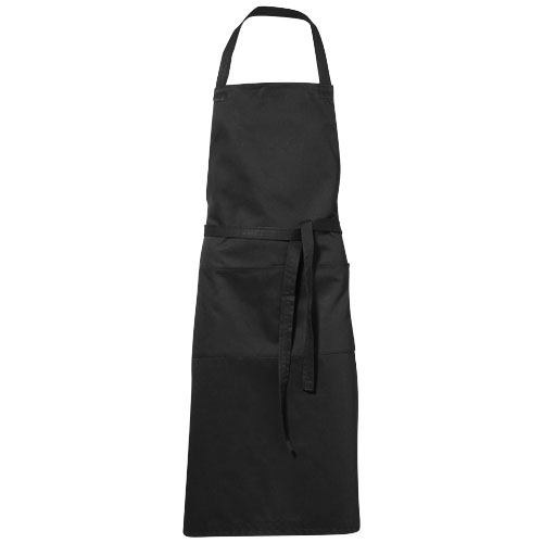 Viera apron with 2 pockets in black-solid