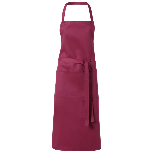 Viera apron with 2 pockets in burgundy