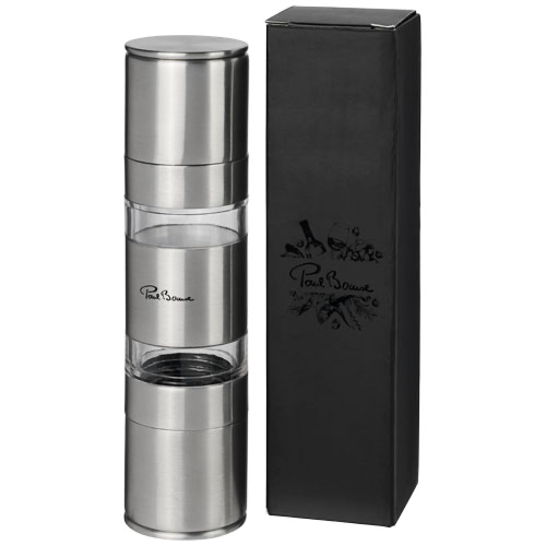 Dual stainless steel pepper and salt grinder in