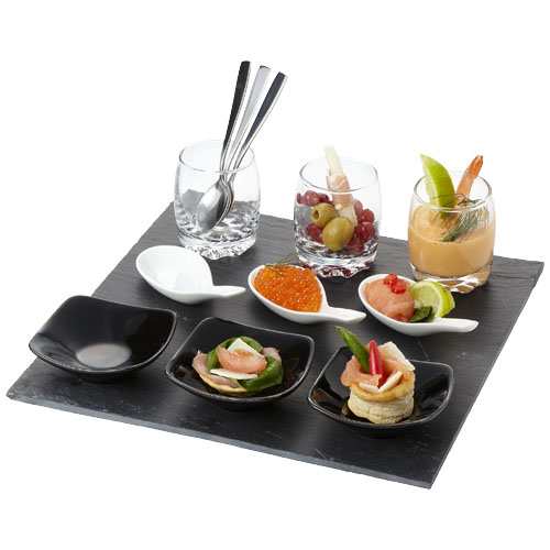 Culi 13-piece amuse bouche set in black-solid-and-white-solid