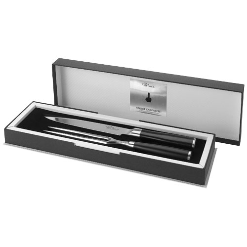 Finesse carving set in black-solid-and-silver