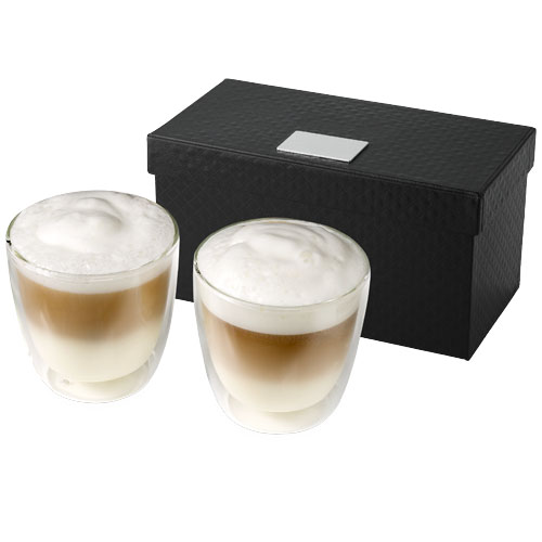 Boda 2-piece glass coffee cup set in transparent