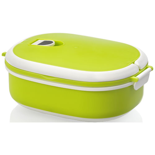 Spiga 750 ml microwave safe lunch box in green-and-white-solid