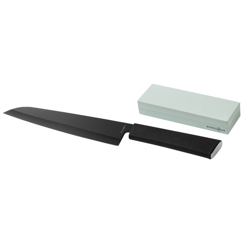 Element chef's knife and whetstone in black-solid
