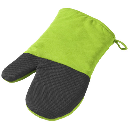 Maya cotton with rubber oven mitt in lime-and-black-solid