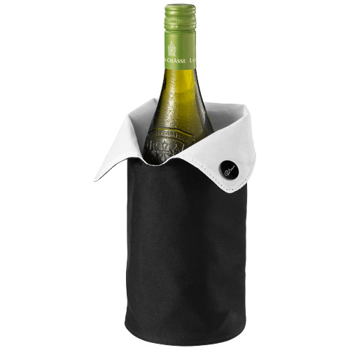Noron foldable wine cooler sleeve in black-shiny-and-white-solid