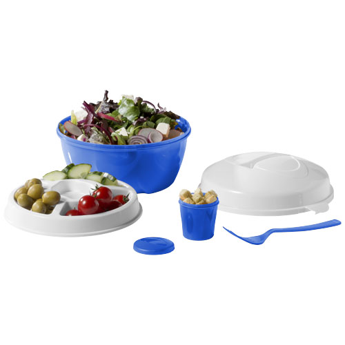 Ceasar salad bowl set in blue-and-white-solid