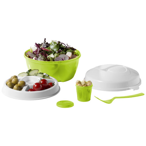 Ceasar salad bowl set in lime-and-white-solid