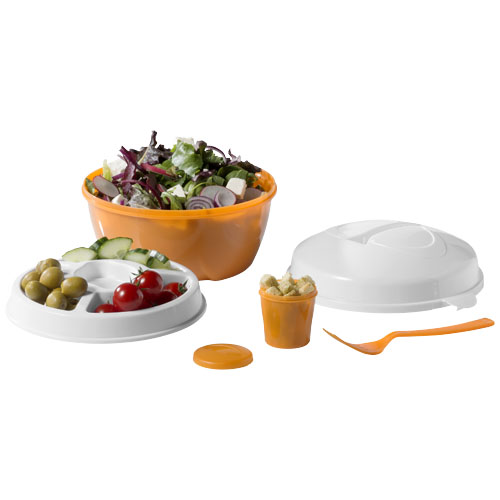 Ceasar salad bowl set in orange-and-white-solid