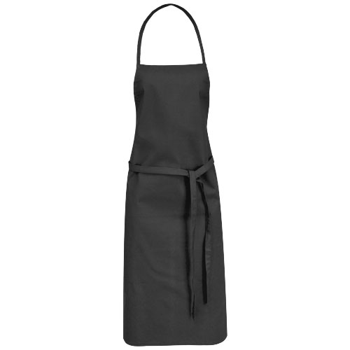 Reeva cotton apron with tie-back closure in black-solid