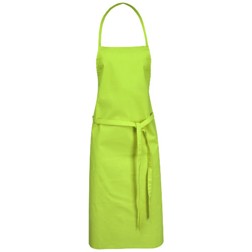 Reeva cotton apron with tie-back closure in lime