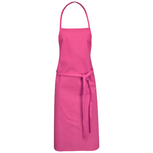Reeva cotton apron with tie-back closure in magenta