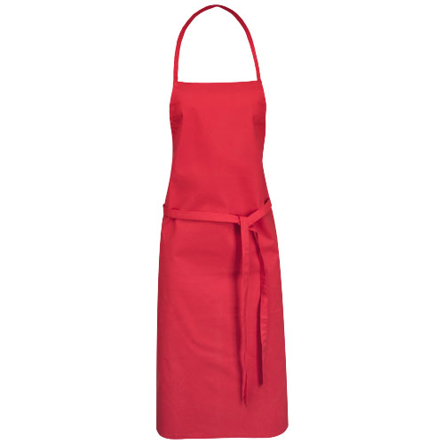Reeva cotton apron with tie-back closure in red