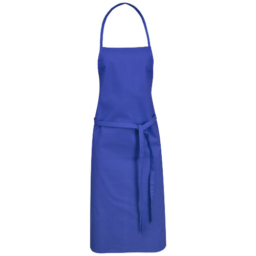 Reeva cotton apron with tie-back closure in royal-blue