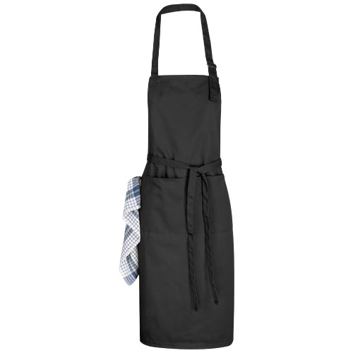 Zora apron with adjustable neck strap in black-solid