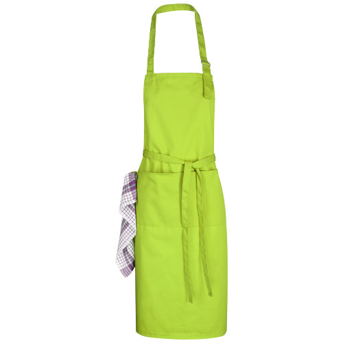 Zora apron with adjustable neck strap in lime