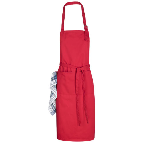 Zora apron with adjustable neck strap in red