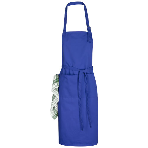 Zora apron with adjustable neck strap in royal-blue
