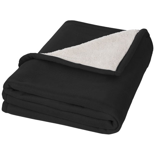 Springwood soft fleece and sherpa plaid blanket in black-solid-and-off-white
