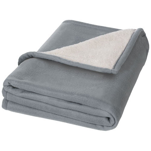 Springwood soft fleece and sherpa plaid blanket in grey-and-white-solid