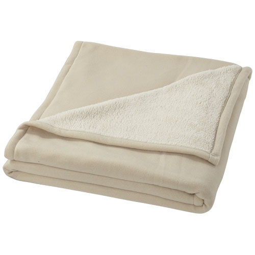 Springwood soft fleece and sherpa plaid blanket in off-white