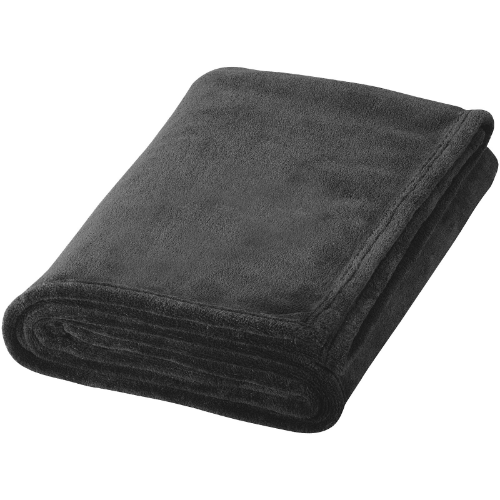 Bay extra soft coral fleece plaid blanket in black-solid