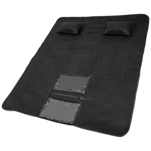 Chill outdoor blanket with 2 inflatable pillows in black-solid