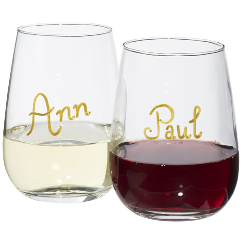 Barola wine glass writing set in transparent-clear