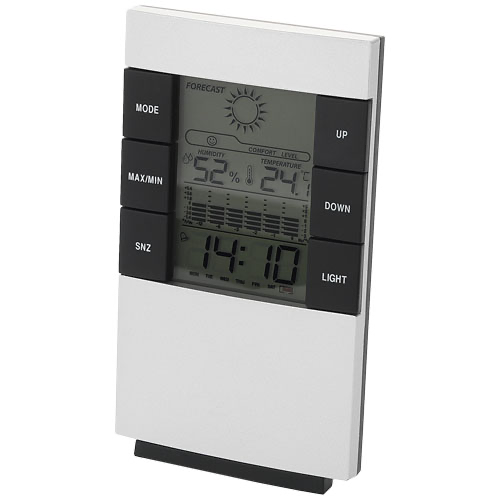 Como desk weather station with alarm clock in silver