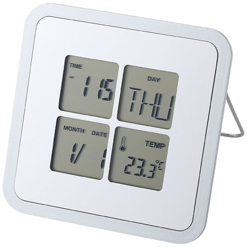 Livorno desk clock with temperature in silver